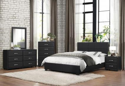 4 PC Queen Size Platform Bedroom Set - Padded Leather
