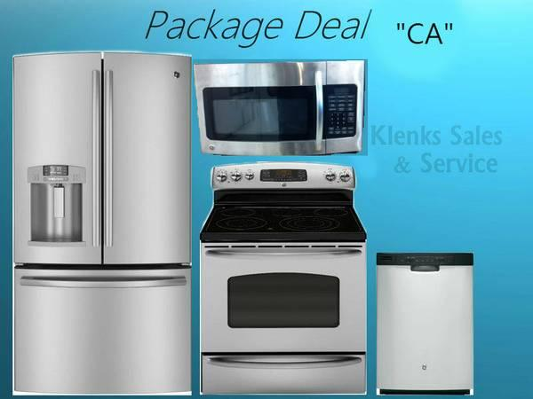 4 Piece GE Stainless Steel Kitchen Appliance Package Deal