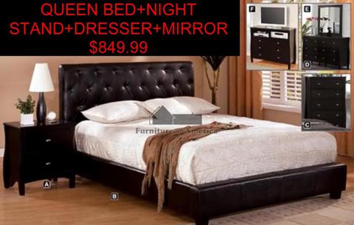 4 PIECE QUEEN PLATFORM BED SET SALINAS CA for Sale in