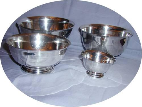 4 Silver Plated Bowls Reed Barton Gorham Paul Revere Design Repro For Sale In Columbus