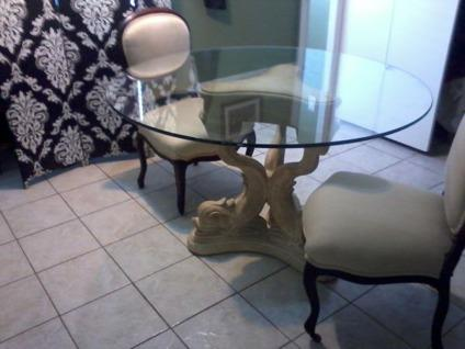 Obo elegant glass top table with koi fish base and two for Koi for sale houston