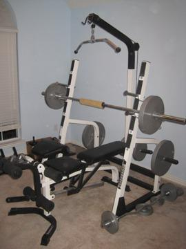 Olympic Weight Bench Squat Rack W Weights For Sale In