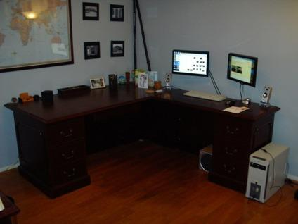 Solid Wood Corner Desk With Matching File Cabinet For Sale