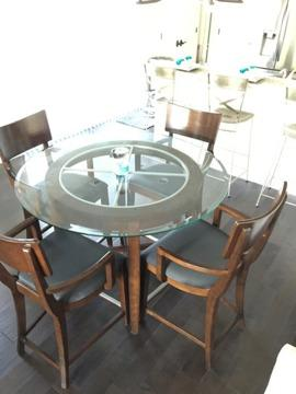 48 Inch Round Dining Table With Glass Top U0026 4 Chairs