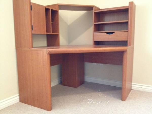"""48"""" x 48"""" corner angled desk with hutch - light colored wood for sale"""