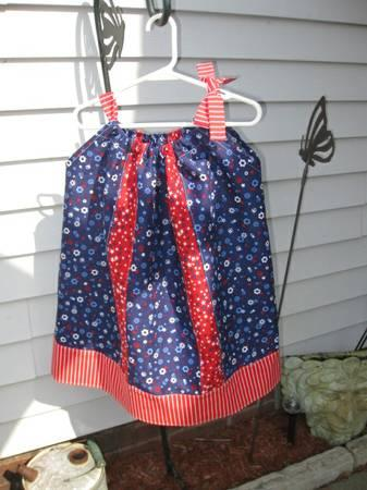 4T to 5T little girls patriotic pillow case dress - $15