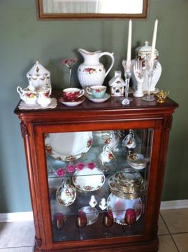 $5,000 OBO Lighted china cabinet and collection of Old Country Roses Bone China