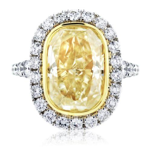 5.32ct Fancy Yellow Oval Cut Diamond Engagement Ring