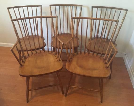 5 Antique DINING TABLE CHAIRS Wooden BAMBOO Style 2 Armed 3 Straight