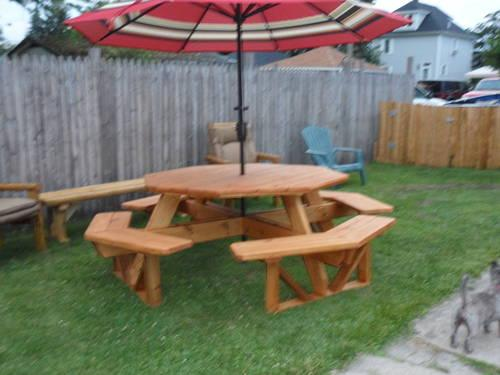 ft octagon picnic table with attached benches for Sale in Ligonier ...