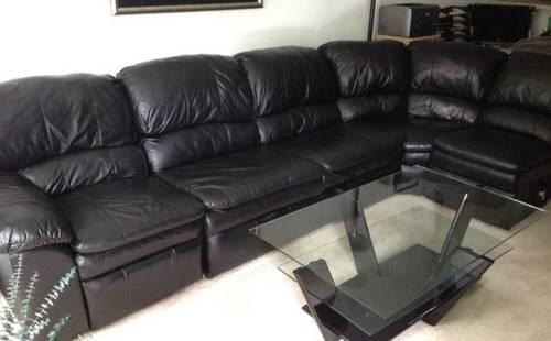 5 Piece Black Leather Sectional Sofa With Recliner And