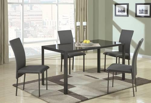 Dark Wood Finish Modern Dining Room W Optional Items: 5 PIECE CONTEMPORARY METAL DINING TABLE W/ GLASS TOP