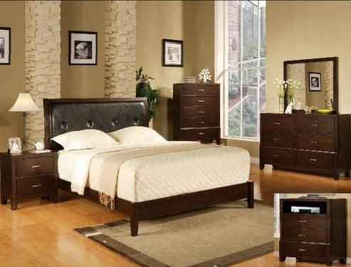 5 piece queen bedroom set brown with dresser chest mirror ns for sale in houston texas