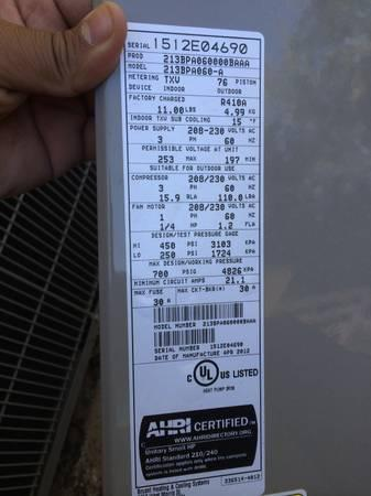 5 TON AC CONDENSER WITH HEAT PUMP USED 6 MONTHS 3 PHASE PURON R410 - $500
