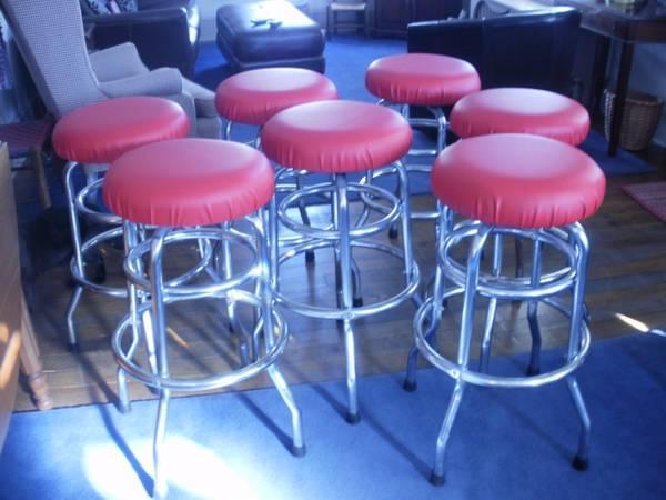 5 Vintage Bar Stools New Seats/Feet Pads - $50