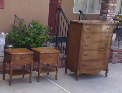 Obo Vintage 1960s 5pc Cherry French Provincial Bassett