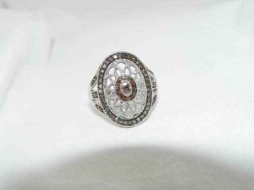 .50ct Chocolate Diamond Halo Ring, Sterling Silver