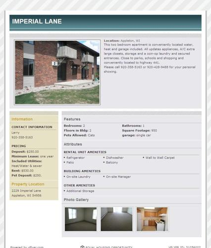 Imperial Lane Apartments (Appleton) (map) For Rent
