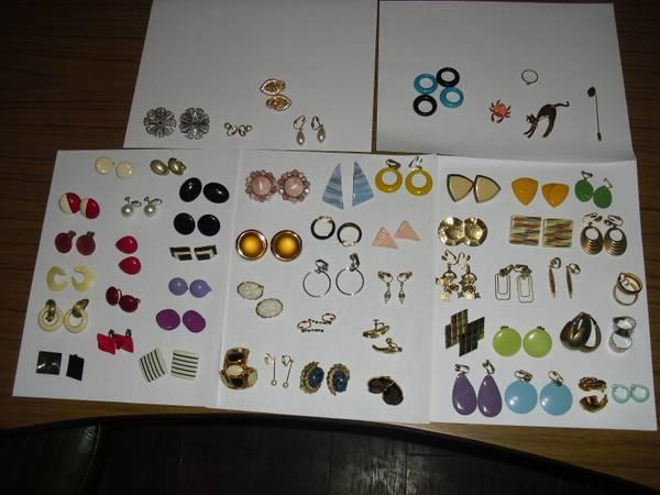 57 Vintage Pairs Of Clip On Earrings Pins Rings Nice