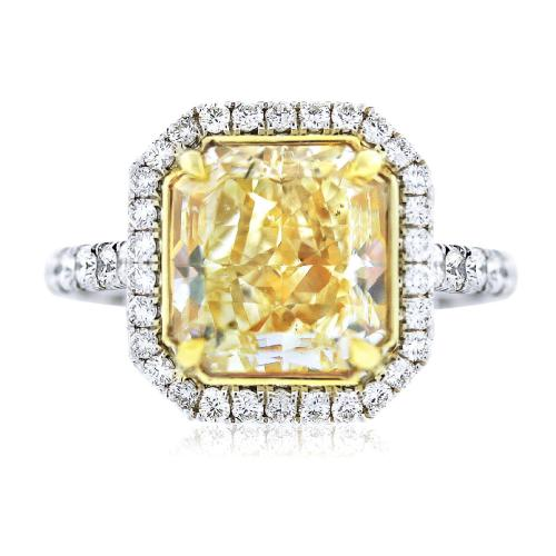 5ct Fancy Yellow Radiant Cut Diamond Engagement Ring