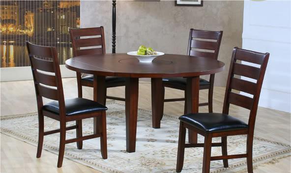 5pc 60 39 round drop leaf table with built inn lazy susan foley al