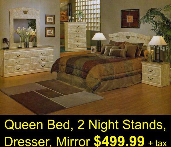 5pc Bedroom Set Includes Headboard 2 Night Stands Dresser
