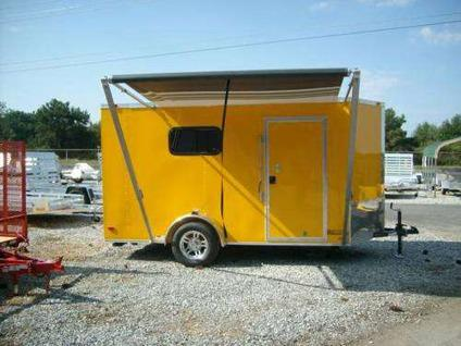 6 x 12 enclosed toy hauler trailer yellow a/c heat awning ...