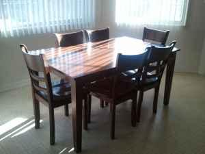 6 chair solid wood dining table - $600 (pueblo west)