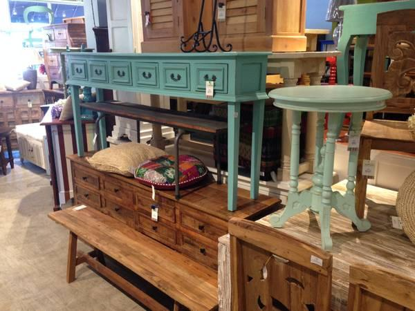 6 Drawer Seafoam Colored Console Table. Solid Wood For Sale In Raleigh,  North Carolina