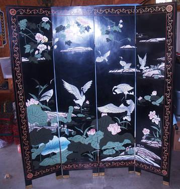 6 Ft 4 Fold Panel Oriental Room Divider Screen Black Lacquer 2 Sided