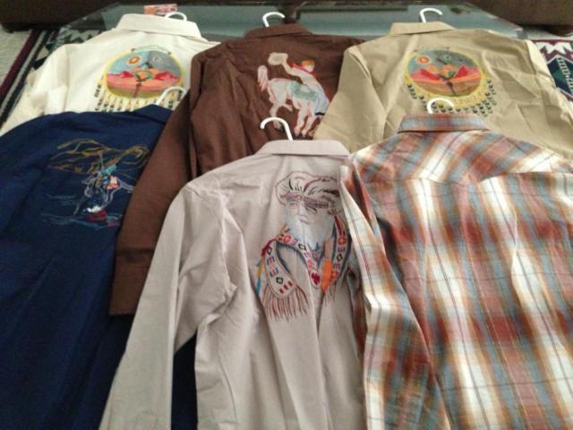 6 hand painted designer western shirts size large