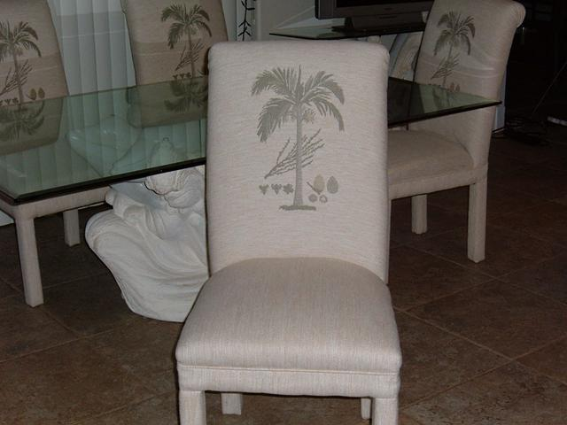 6 Palm Tree Embroideried Parsons Chairs New Condition For