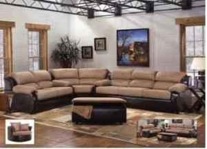 6 Pc New Two Tone Microfiber Leather Sectional Denver