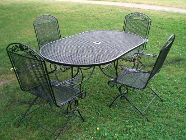 6 piece black wrought iron patio set springer rockers