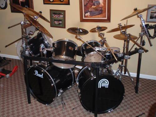 6 piece pearl export series drum set black for sale in lanton missouri classified. Black Bedroom Furniture Sets. Home Design Ideas