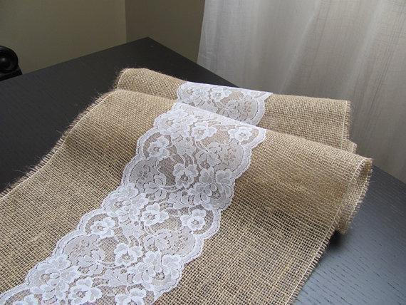 6 Rustic Wedding Natural Burlap & White Lace Table