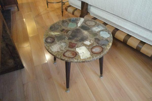 60 S Resin End Table W Agate Stone Specimens For Sale
