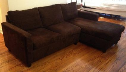 Obo microfiber sectional sofa chocolate brown for sale in for Chocolate brown microfiber sectional sofa