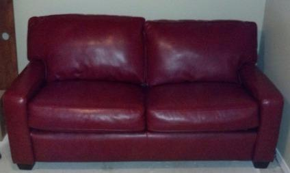 OBO Red Leather Couch (with Sleeper) - Apartment Size for ...