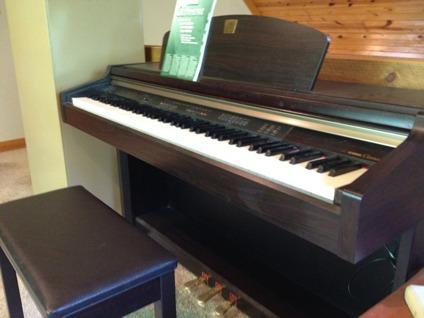 Yamaha clavinova upright electric piano w bench for sale for Yamaha electric upright piano