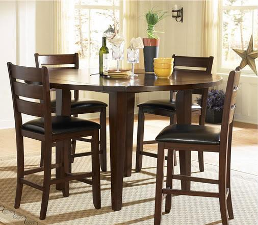 60 Quot Rd Pub Table With 4 Stools With Built In Lazy Susan