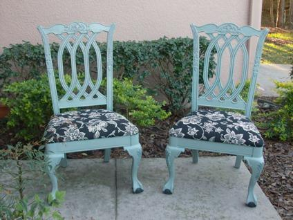 $65 Shabby Chairs in Duck Egg Blue Color