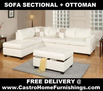 100% New! ~~~ White Leather Sofa Sectional + Ottoman + Free ...