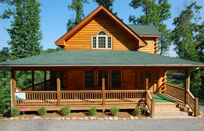 3br 1650ft log cabin style home great views for Great american log homes