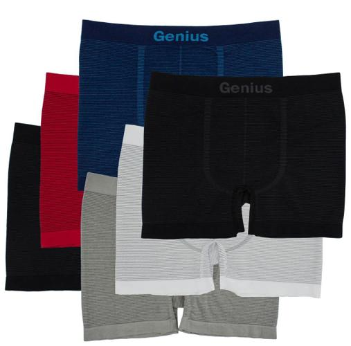 6pk Mens Seamless Athletic Compression Boxer Briefs Shorts Underwear One Size