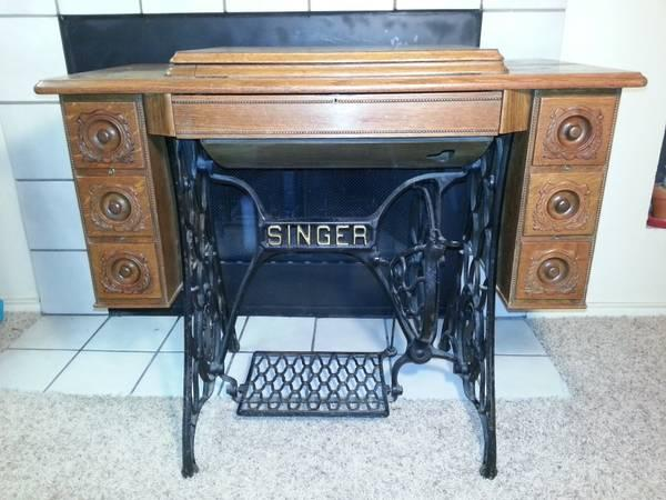 7 drawer Singer sewing machine treadle cabinet with - 7 Drawer Singer Sewing Machine Treadle Cabinet With Beaded Woodwork