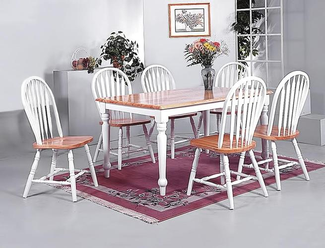 7 pc dining table and chairs solid oak ROOMS FURNITURE