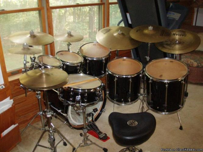 7 Piece Drumset Premier Signia Black For Sale In Chapin South Carolina