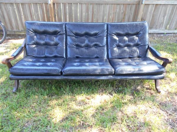 70 39 s vintage faux wood x base tufted vinyl sofa for sale for 70s wooden couch