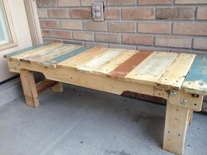 Reclaimed Pallet Wood Bench Coffee Table For Sale In